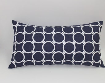 Navy & white  pillow cover 12x22 modern geometric design, pillowcover home decor