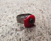 Hematite Funky Red Fused Glass Ring