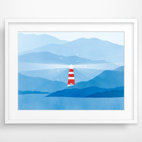 Lighthouse Nautical Decor, Nautical Nursery Art, Beach Decor