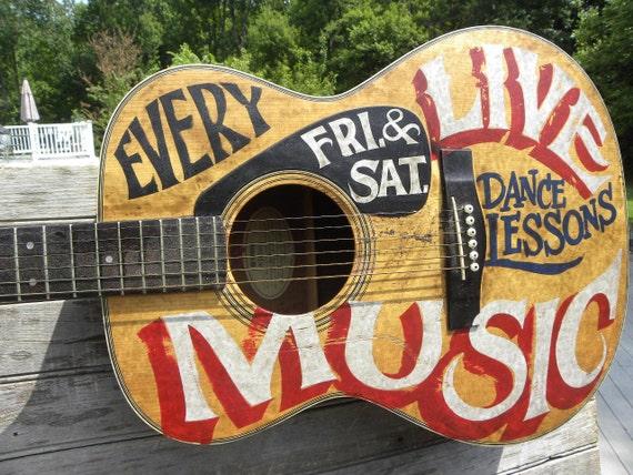 Painted guitar signacoustic guitaroriginal sign decor for Acoustic guitar decoration ideas