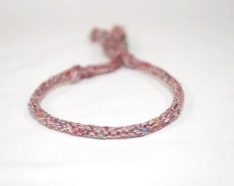 Eco Friendly Purple Bracelet Kumihimo Recycled Fibre Textured Womens Jewelry