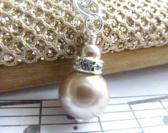 Bridesmaids necklace champagne pearl wedding pale brown and silver necklace