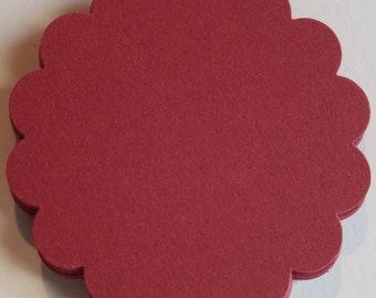 25 Red 2 inch Scalloped Circles,Discs,Round Tags,Tags