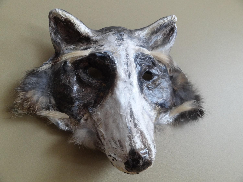 Masquerade masks paper mache racoon mask wolf mask - Masque papier mache ...
