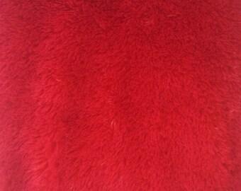 Red Minky Mini Shaggy 54 Inch Wide Fabric by the Yard, 1 yard