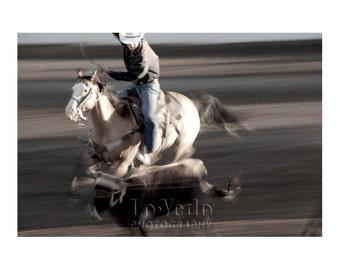 Rodeo Photograph, Calf Roping, Cowboy Horse Calf, Western Art, Cabin Decor, Boy's Room Decor