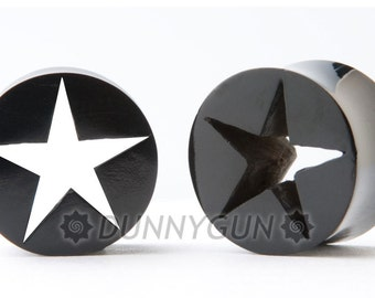 2G Pair Hollow Star Tunnel Horn Gauged Plugs Organic Hand Carved Body Piercing Jewelry 2 gauge
