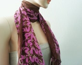 Graffiti Letters Long Fashion Scarf Fluorescence Pink Women Girls Gift