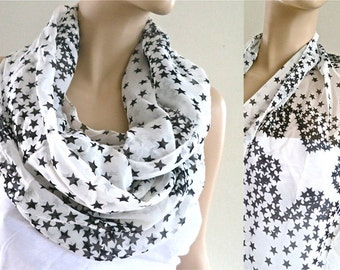 Star Scarf, Black and White Scarf, Infinity Scarf, Women Fashion Accessories, Print Scarves, Gift for Her under 20, White Infinity Scarf
