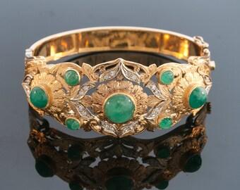 Vintage Bracelet - Vintage 18k Yellow Gold Emerald and Diamond Bangle Bracelet