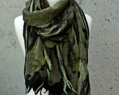 Olive Silk Nuno Felted Shawl. Black Merino and Green Abstract Design Highlights.