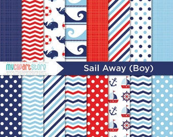 Digital Paper - Sailing, Sail Away (Boy), Nautical, Ocean, Beach, Whale, Scrapbook Paper, Digital Pattern, Commercial Use, JPEG, PDF