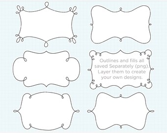 Frames - Curly Frame / Baby Frame Clipart - Instant Download