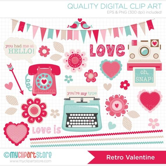 Valentines Day / Retro Valentine Clipart / Clip Art / Digital Clipart - Instant Download