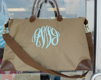 MONOGRAMMED Large Taupe Weekender Tote Bag (Font Shown: Master Circle in Light Pool)