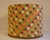 Modern Drum Lamp Shade - Contemporary Circle Decor Lampshade Cream Brown Orange Nectarine Colors - AShadeFancier