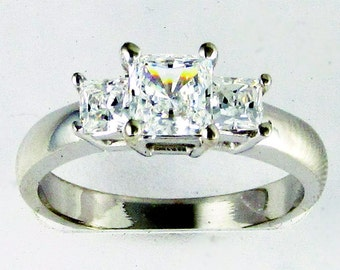 R26045 14K solid gold 1.5ct total CZ princess basket set 3 stone ring