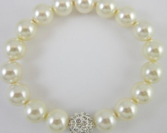 Pearl and Pave Rhinestone Bracelet - Cream Swarovski Pearls - For Her, Bride, Mother of the Bride, Bridesmaid, Birthday, For Mom