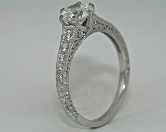 Platinum and Diamonds Vintage Style Hand Engrave Engagement with .90ct White Sapphire Center
