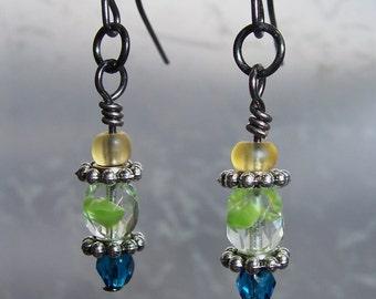Yellow, Green, Blue Czech Glass Earrings