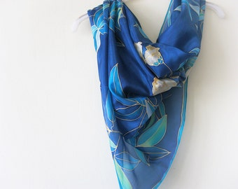 Hand painted square silk scarf Teal blue botanical Women gift - made TO ORDER
