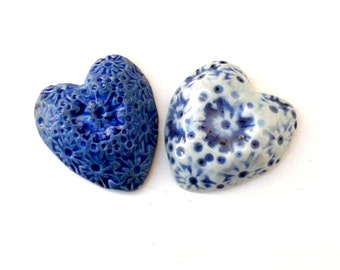 Couples Gift,Blue And White Porcelain Hearts,  Romantic Gift