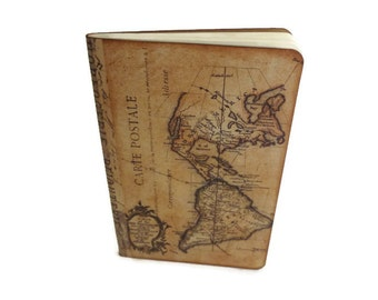 Travel Journal Notebook,  World Maps, Altered, Atlas, Geography, Wanderlust,  Vacation Journal
