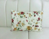 Rectangular Lumbar Pillow - Shabby Chic Home - Linen Cream Pillow Covers with Claret Red Brown and Green Floral Print - Gift for Her for Mom
