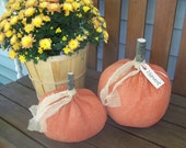 Set of 2 Primitive Large Fabric Pumpkins Perfect For Fall Decorating