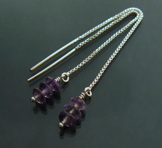 Amethyst threader earrings - Amethyst earrings - sterling silver threaders