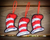 Dr. Seuss Cat In Hat - Hat Christmas Ornaments - Set of 3