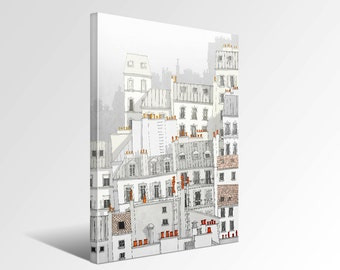 Paris Montmartre - Paris Canvas print Ready to hang Art Home decor Wall decor Wedding gift ideas Living room decor White Houses Rooftops