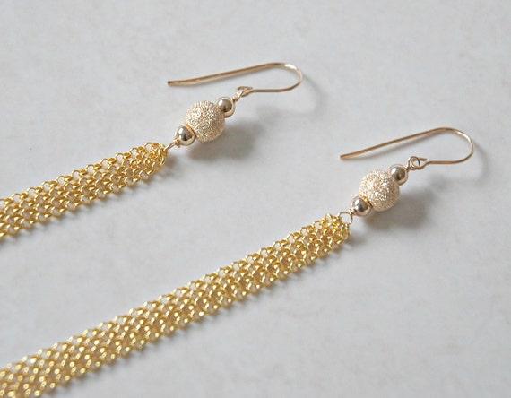 Gold tassel earrings - gold stardust ball - long chain tassel long gold earrings - elegant gold earrings - sexy jewelry - coquette