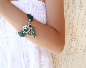 Jade Bracelet, Emerald Green Turkish Silk Bracelet, Silver Green Pendants Bracelet, Stones Bracelet, Mother's Day Gifts