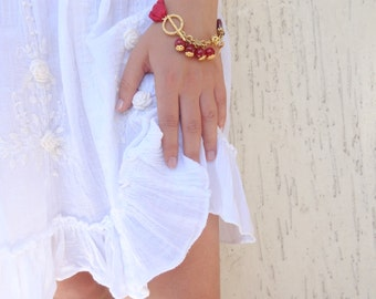 Burgundy Turkish Silk Bracelet, Gold Bracelet, Stones Bracelet ,  Burgundy Agate Bracelet