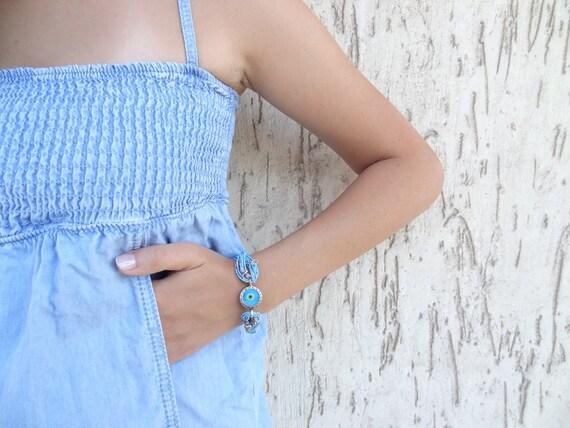 Blue Bracelet, Luck Evil Eye Beads Bracelet, Leather Rope Bracelet, Turkish Bracelet