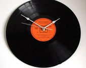 """Simon and Garfunkel CLOCK """"Bridge Over Troubled Water"""" made from Original recycled vinyl record 12 inch LP Black and orange vintage but new"""