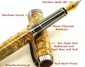 Custom Wooden Pen Custom Fountain Pen Box Elder Burl Custom Finial Red Heart Black Titanium Hardware 572FPB