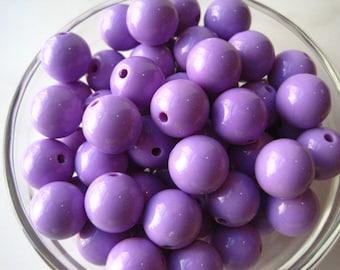 Lavender Gumball Beads, 10 pcs, 16mm Bubblegum Bead, Acrylic Bead, Chunky Necklace Bead, Round Bead
