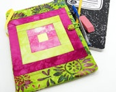 Quilted Composition Notebook Cover, Fabric Journal Cover in Pink, Fuchsia, and Lime Green