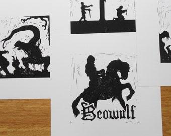 Beowulf Silhouette - Linocut Print