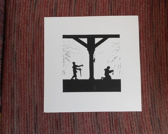 The Holy Man And The Undead Knight   - Silhouette Linocut Print