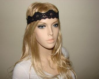 Black lace headband thin, stretchy headband, skinny Headband, boho flower lace headband, bridal stretchy lace headband, woman hair band