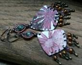 SALE- Flourishes Series earrings rustic, bohemian, pink carmine tin long, recycled, boho, tribal, garden, floral, tin, ethnic, vintage, boho