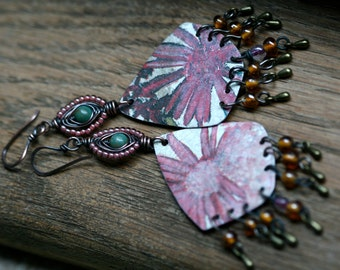 SALE- Flourishes Series earrings rustic, bohemian, pink carmine tin long, recycled, boho, tribal, garden, floral, tin, ethnic, vintage, boho