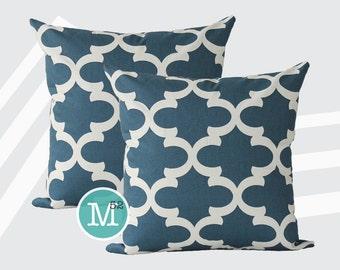 Cadet Dark Blue Moroccan Quatrefoil Lattice Pillow Covers Shams - 18 x 18, 20 x 20 and More Sizes - Zipper Closure- dc1820
