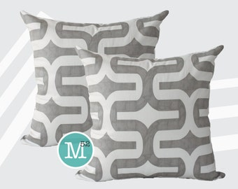 Grey Trellis Lattice Embrace Pillow Covers - 20 x 20 and More Sizes - Zipper Closure