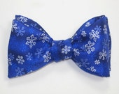 Mens SILK BOW TIE Blue Winter Snow Flake BowTie