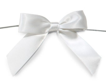 "White 3"" Pre-Tied Satin Bows with 5"" Twist Ties~ 7/8"" ribbon- Pack of 6"