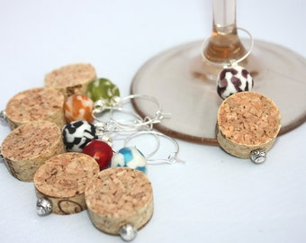 Wine Charms - Set of Six - Multi Color Recycled Glass